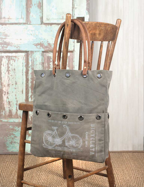 vintage style canvas tote bag with bicycle