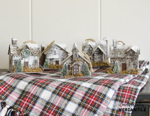 birch and paper house Christmas ornaments