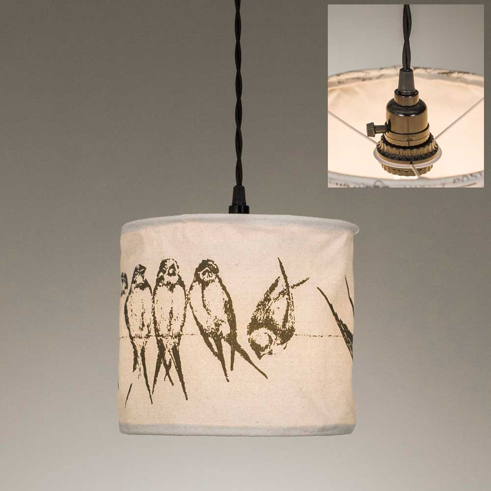 hanging pendant lamp with bird fabric