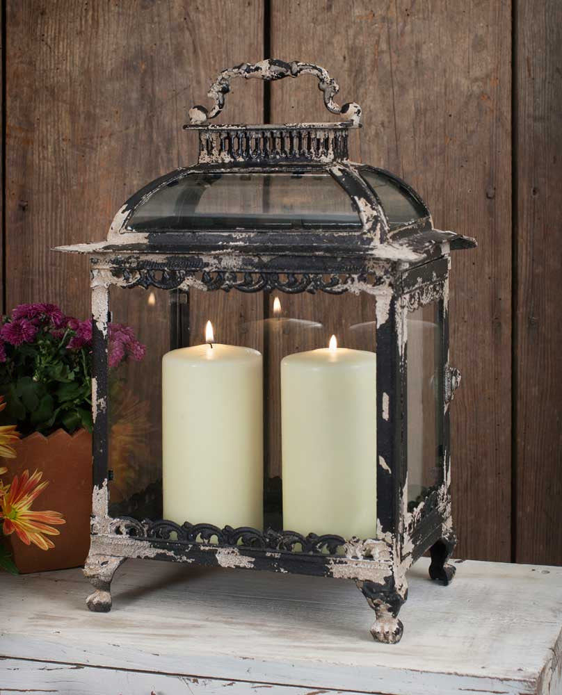 black distressed metal candle lantern
