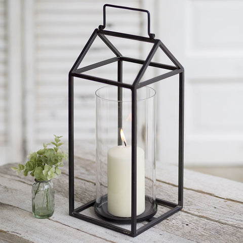black metal frame candle lantern