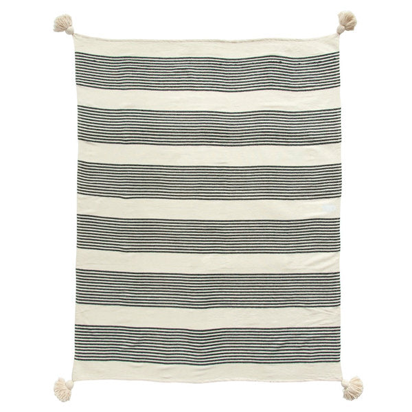 Cotton and Chenille Woven Striped Tassel Throw Blanket