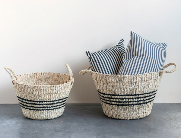 striped woven baskets with handles