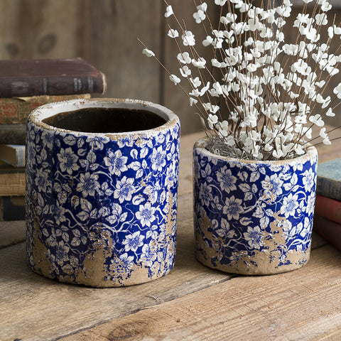 rustic blue and white floral ceramic planters
