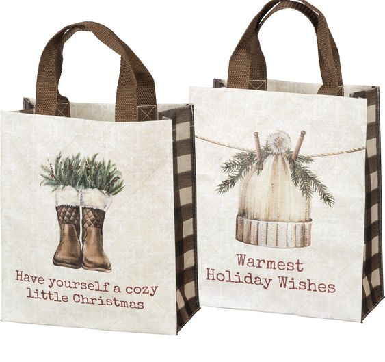 Buffalo check Christmas tote bag