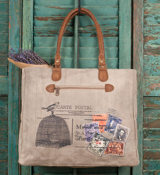 vintage style canvas and leather carte postal tote bag