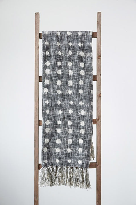 polka dot throw blanket with fringe