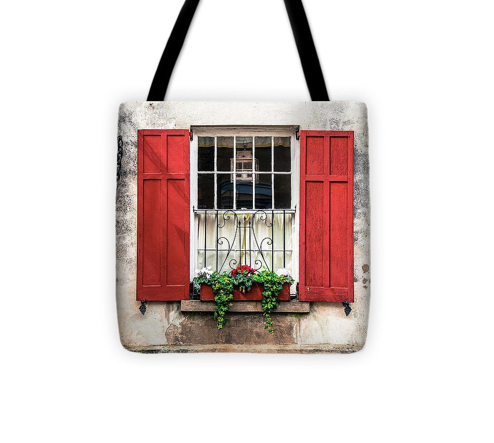 Charleston Old Red Shutters - Tote Bag