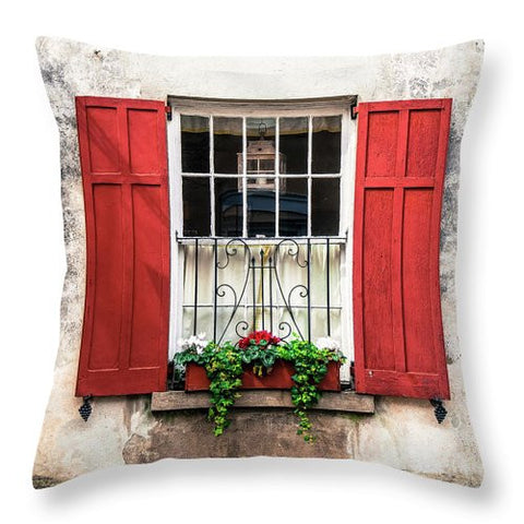 Charleston Old Red Shutters - Throw Pillow