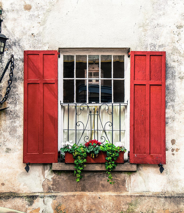 Charleston Old Red Shutters - Art Print