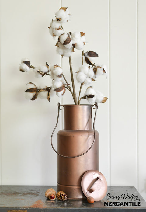 cotton faux stem spray in copper finish container