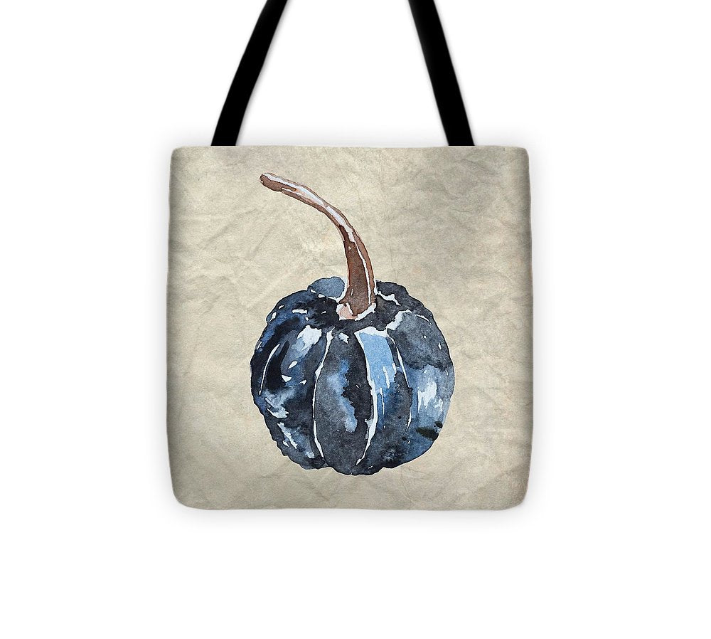 Dark Blue Watercolor Pumpkin - Tote Bag