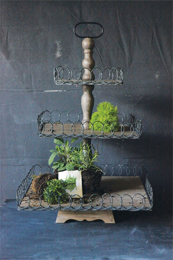 Elizabeth Wood And French Wire Three Tier Tray Stand