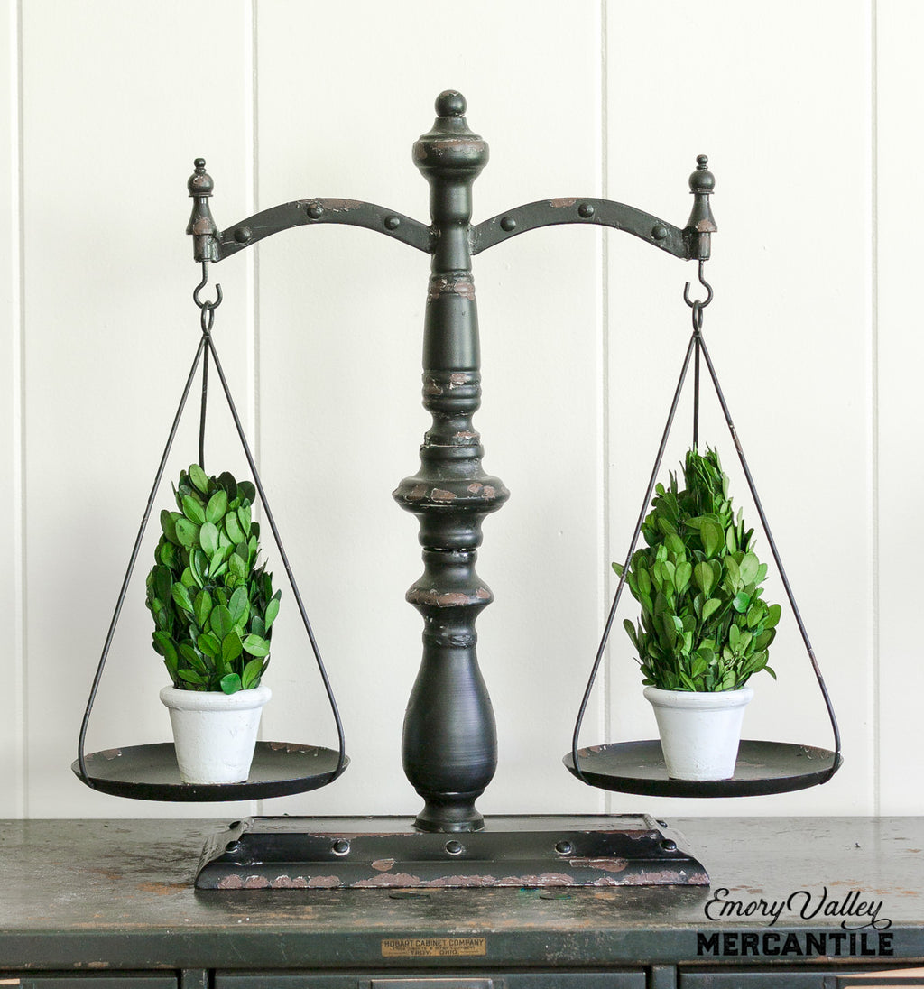 decorative rustic black balance scales
