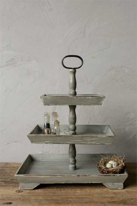 distressed painted wood three tier tray stand