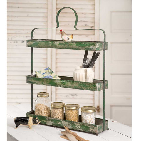 Brittany Distressed Green Metal 3 Tier Standing Shelf