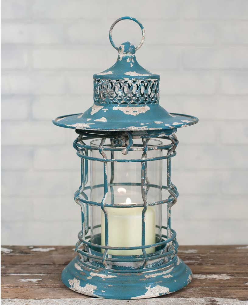 distressed metal vintage style lantern