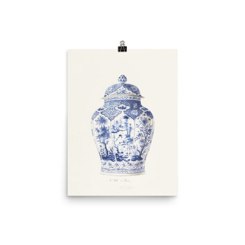 Antique Chinoiserie Blue and White Ginger Jar Watercolor Art 18th century reproduction