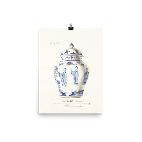 Antique Blue and White Ginger Jar Watercolor Art 18th century reproduction