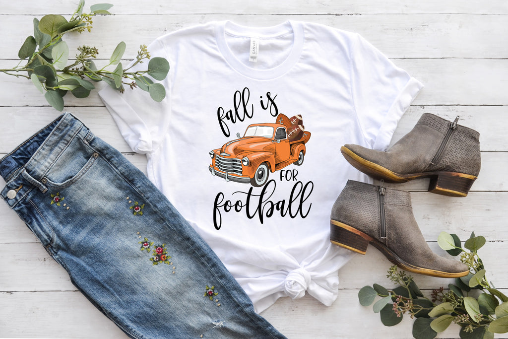 fall is for football orange vintage truck t shirt