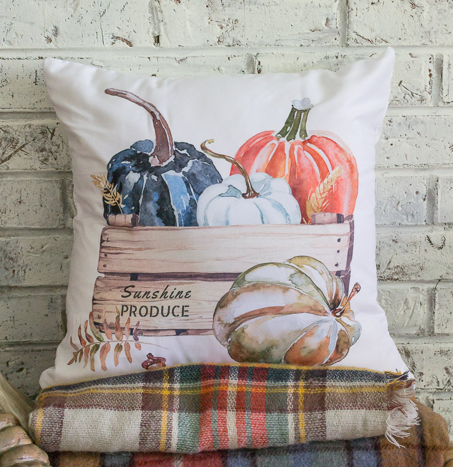 fall watercolor pumpkin throw pillow cover