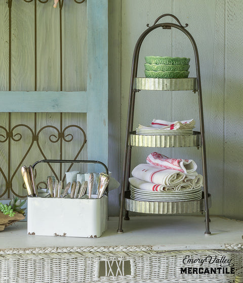 farmhouse style galvanized tiered tray
