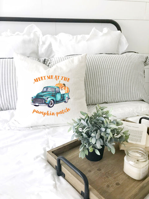 fall farmhouse pillow meet me at the pumpkin patch vintage aqua truck
