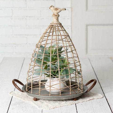 farmhouse metal wire cloche with bird