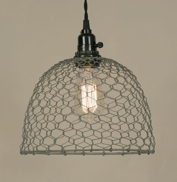 galvanized lighting. Farmhouse Style Chicken Wire Pendant Light, Galvanized Galvanized Lighting