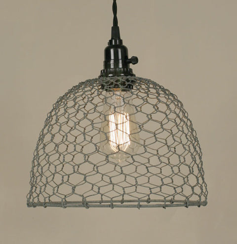 Farmhouse Style Chicken Wire Pendant Light, Galvanized