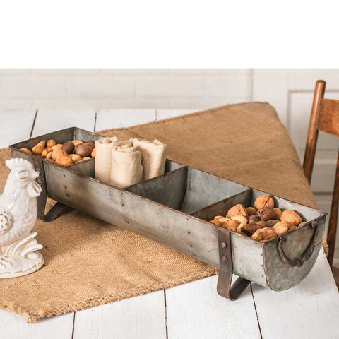 farmhouse style chicken feeder with compartments