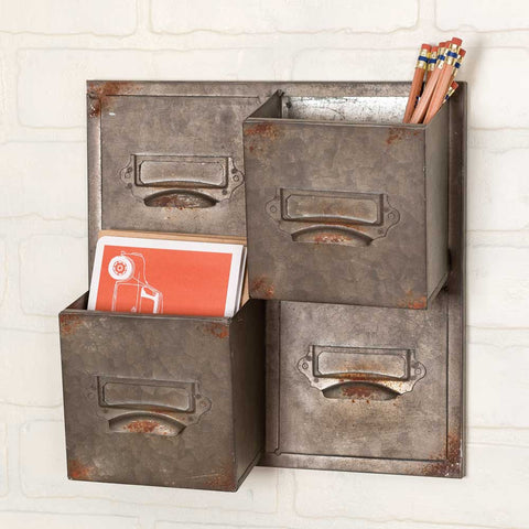 farmhouse style galvanized metal wall caddy