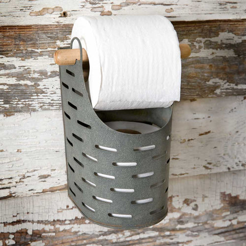 farmhouse style olive buket toilet paper holder
