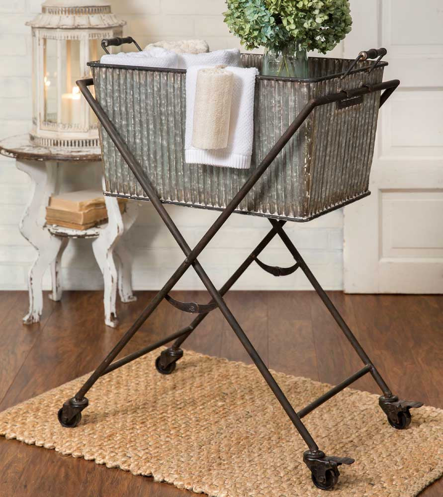 farmhouse style metal rolling bin cart