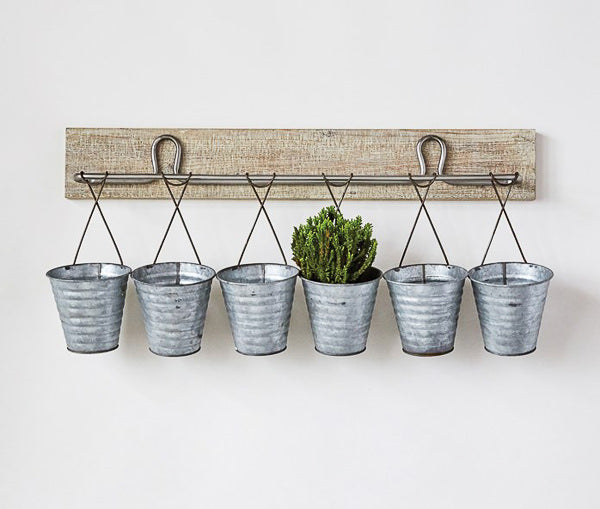 farmhouse wooden organizer wall rack with metal buckets