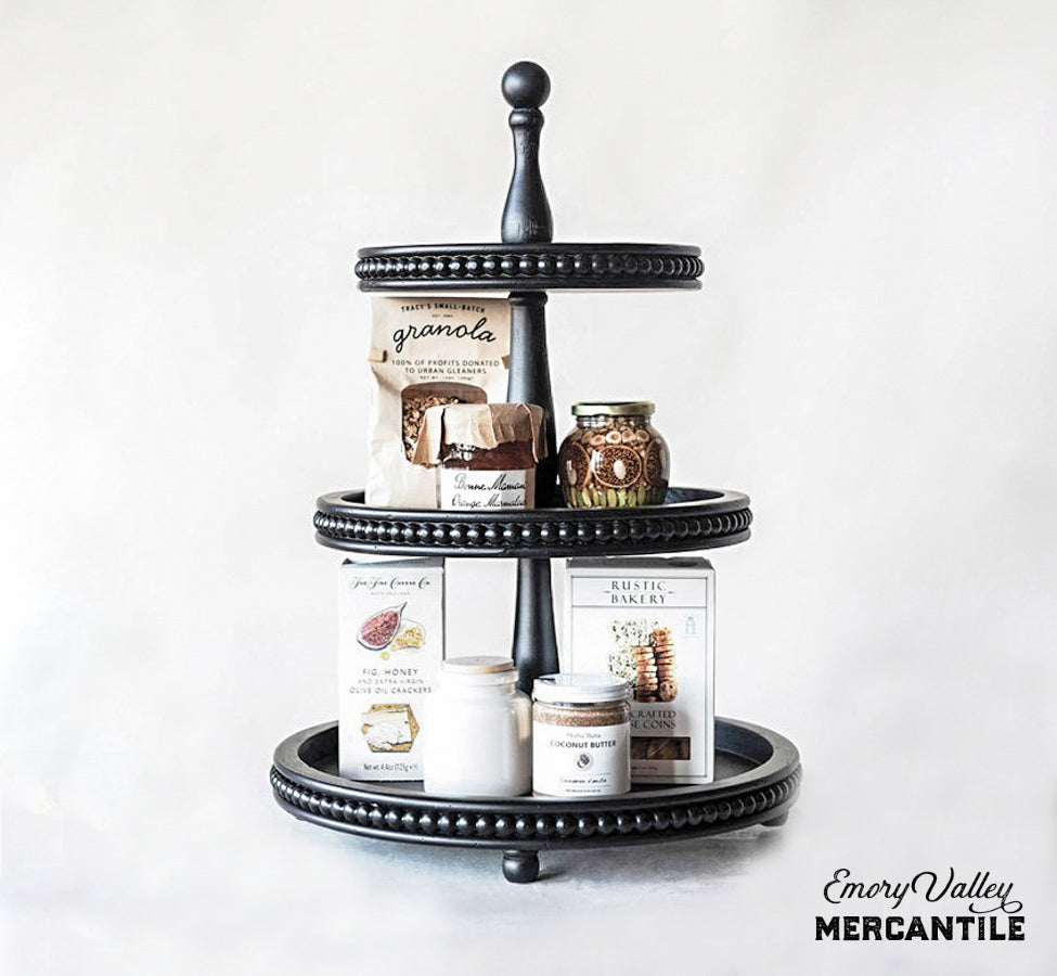 3 tier farmhouse wood tray stand black
