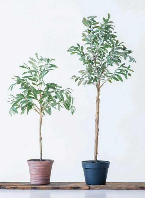 realistic faux olive tree in pot