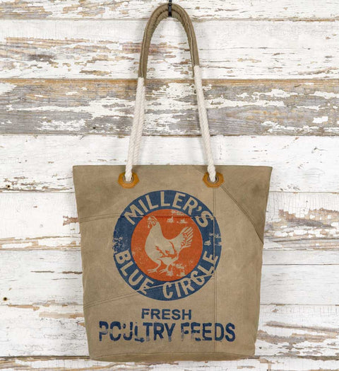 feed sack tote bag miller's blue circle