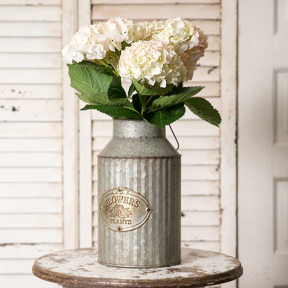 farmhouse style metal milk can planter