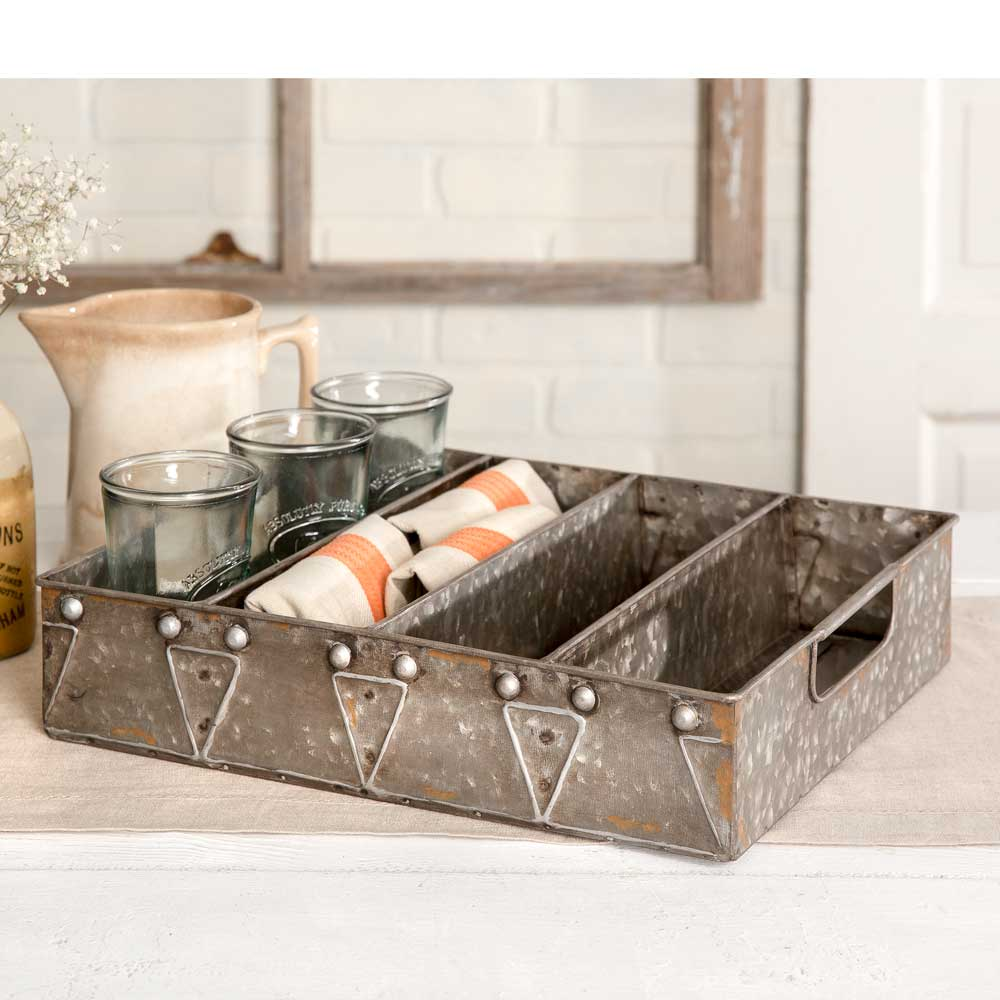 farmhouse style galvanized metal utensil tray