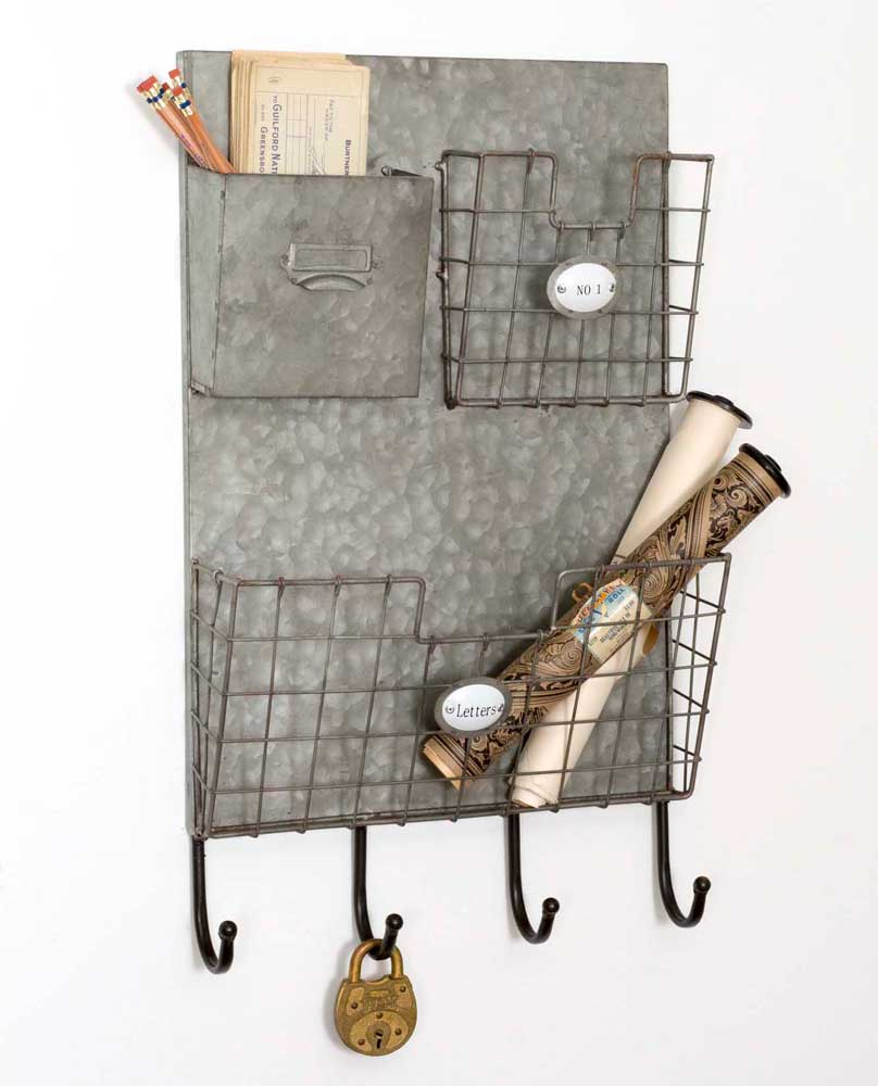 galvanized metal wall organizer with pockets and hooks