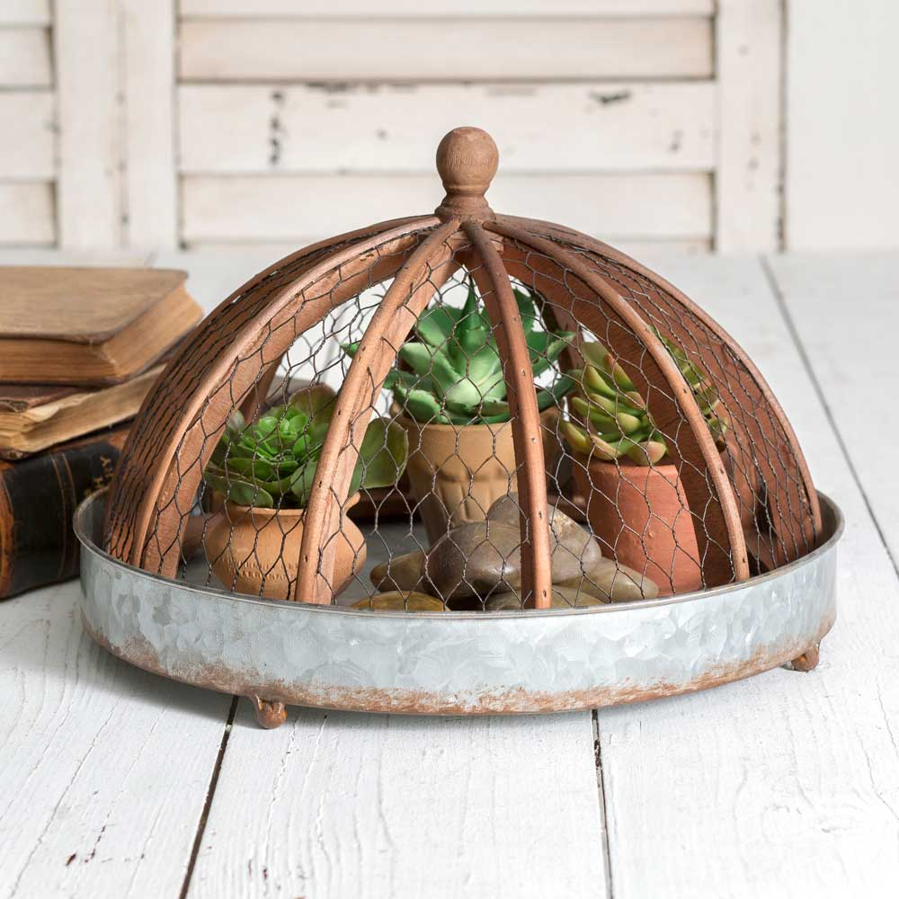 galvanized round tray with wire and wood cloche