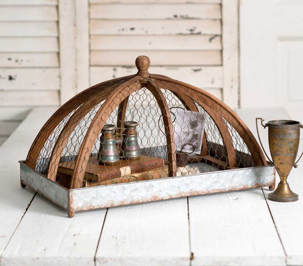 galvanized tray with wire and wood cloche