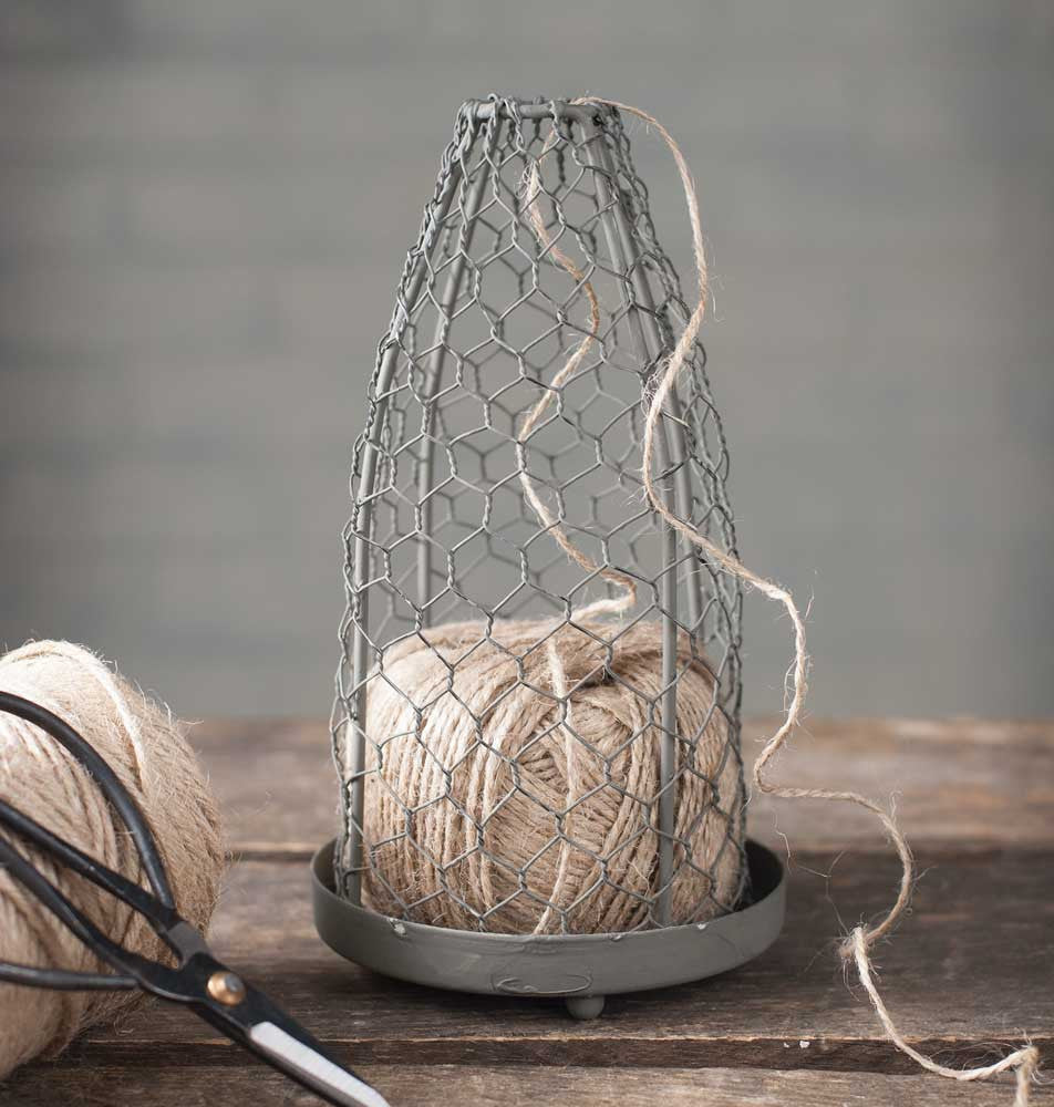 chicken wire cloche with twine jute ball
