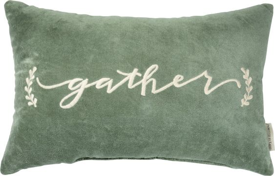 gather embroidered green velvet pillow