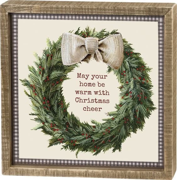 Christmas wreath sign with gingham trim
