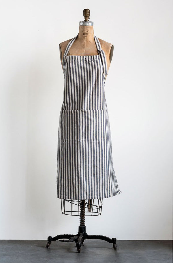 cotton gray striped apron with pockets