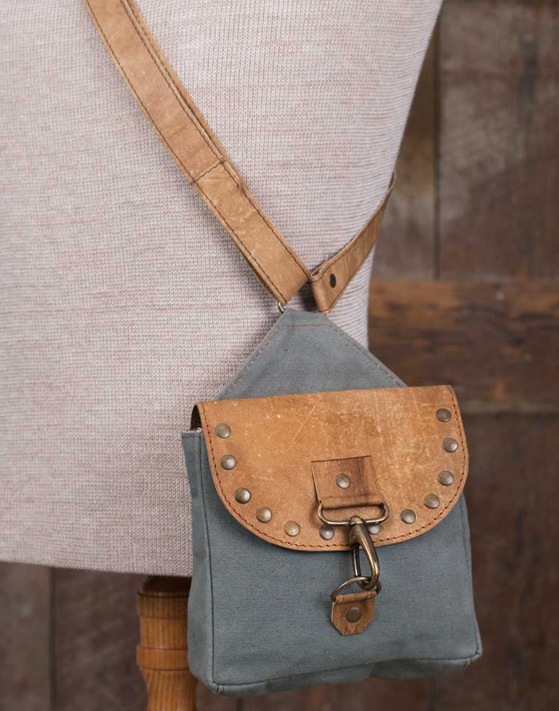 canvas and leather crossbody bag with rivets