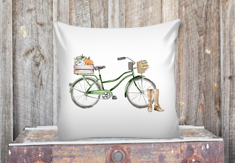 green fall watercolor bicycle with pumpkins pillow