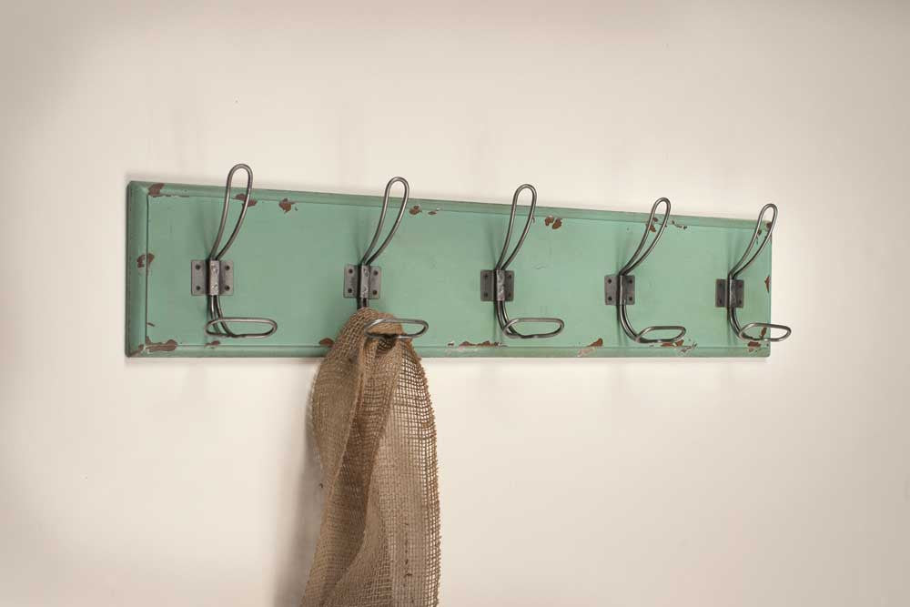 Green Painted Rustic Wall Hook Rack